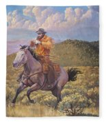 Pony Express Rider At Look Out Pass Fleece Blanket