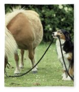 Pony With Lead Rope Held By Sitting Dog Fleece Blanket