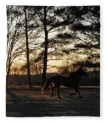Pony's Evening Pasture Trot Fleece Blanket