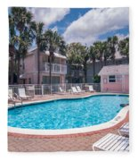 Pool And Cottages Fleece Blanket