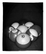 Pool Balls In Black And White Fleece Blanket