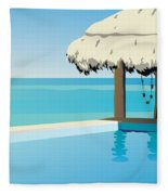 Pool On The Ocean Fleece Blanket