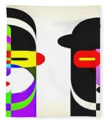 Pop Art People Row White Background Fleece Blanket
