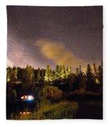 Pop Up Camper Under The Milky Way Sky Fleece Blanket