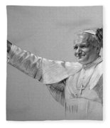 Pope John Paul II Bw Fleece Blanket