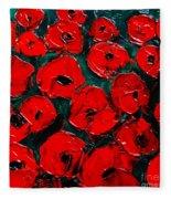 Poppies 3 Fleece Blanket