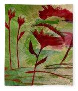 Poppies Abstract 2 Fleece Blanket