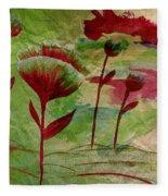 Poppies Abstract 3 Fleece Blanket