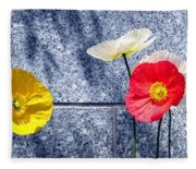 Poppies And Granite Fleece Blanket