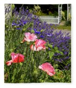 Poppies And Lavender Fleece Blanket