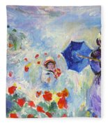 Poppies At Argenteuil Claude Monet Fleece Blanket
