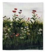 Poppies, Daisies And Thistles Fleece Blanket