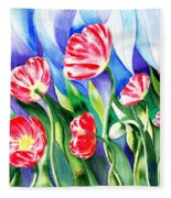 Poppies Field Square Quilt  Fleece Blanket