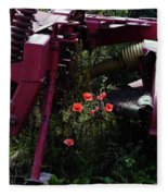 Poppies Growing Amongst Farm Machinery In A Farmyard Near Pocklington Yorkshire Wolds East Yorkshire Fleece Blanket