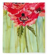 Poppies I Fleece Blanket
