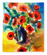 Poppies In A Vase Fleece Blanket