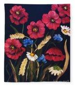 Poppies In Oils Fleece Blanket