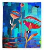 Poppies On Blue 1 Fleece Blanket