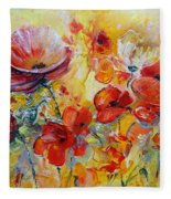 Poppies On Fire Fleece Blanket