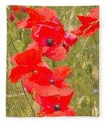 Poppies Vi Fleece Blanket