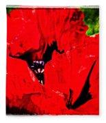 Giant Poppy Art  Fleece Blanket