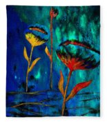 Poppy At Night Abstract 1 Fleece Blanket