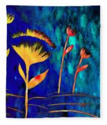 Poppy At Night Abstract 3  Fleece Blanket
