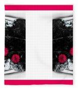 Poppy Jasper Stone Painting With Borders 7 Fleece Blanket