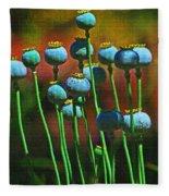 Poppy Seed Pods Fleece Blanket