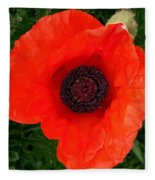 Poppy Of Remembrance  Fleece Blanket