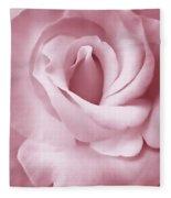 Porcelain Pink Rose Flower Fleece Blanket