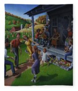 Porch Music And Flatfoot Dancing - Mountain Music - Farm Folk Art Landscape - Square Format Fleece Blanket