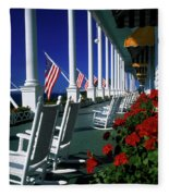 Porch Of The Grand Hotel, Mackinac Fleece Blanket