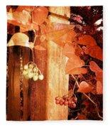 Porch Post Berries Rust Fleece Blanket