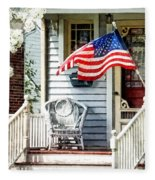 Porch With Flag And Wicker Chair Fleece Blanket