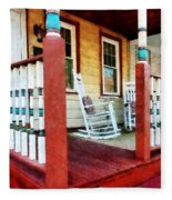 Porch With Red White And Blue Railing Fleece Blanket