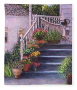 Porch With Watering Cans Fleece Blanket