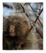 Porcupine And Berries Fleece Blanket