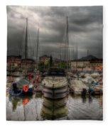 Port At Como Lake Fleece Blanket