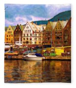 Port Life Watercolor Fleece Blanket