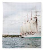 Juan Sebastian De Elcano Famous Tall Ship Of Spanish Navy Visits Port Mahon In Front Of Bloody Islan Fleece Blanket