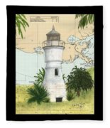 Port Pontchartrain Lighthouse La Chart Map Art Fleece Blanket