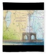 Port Washington Lighthouse Wi Nautical Chart Map Art Fleece Blanket
