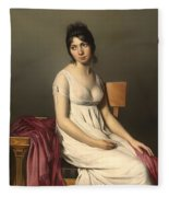 Portait Of A Young Woman In White Fleece Blanket