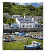 Porthleven Harbor - Low Tide Fleece Blanket