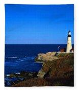 Portland Head Light Panoramic View Fleece Blanket
