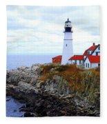 Portland Head Light House In Maine Fleece Blanket