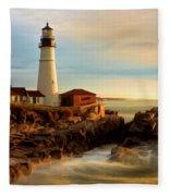 Portland Head Lighthouse At Dawn Fleece Blanket