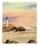 Portland Head Lighthouse Maine Fleece Blanket