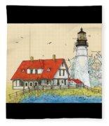 Portland Head Lighthouse Me Nautical Chart Map Art Fleece Blanket